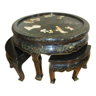 Black Lacquer & Mother of Pearl Tea Table SetRound Table With Stools Stool Set