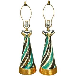 Mid-Century Gilt Ceramic Striped Lamps - A Pair