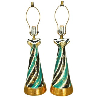 Mid-Century Gilt Ceramic Striped Lamps - A Pair