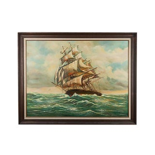 Signed Nautical Ship Oil Painting