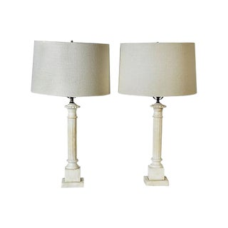 Column Style Alabaster Table Lamps - A Pair