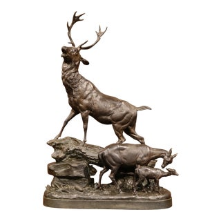 Tall 19th Century French Patinated Spelter Sculpture with Buck Doe and Fawn
