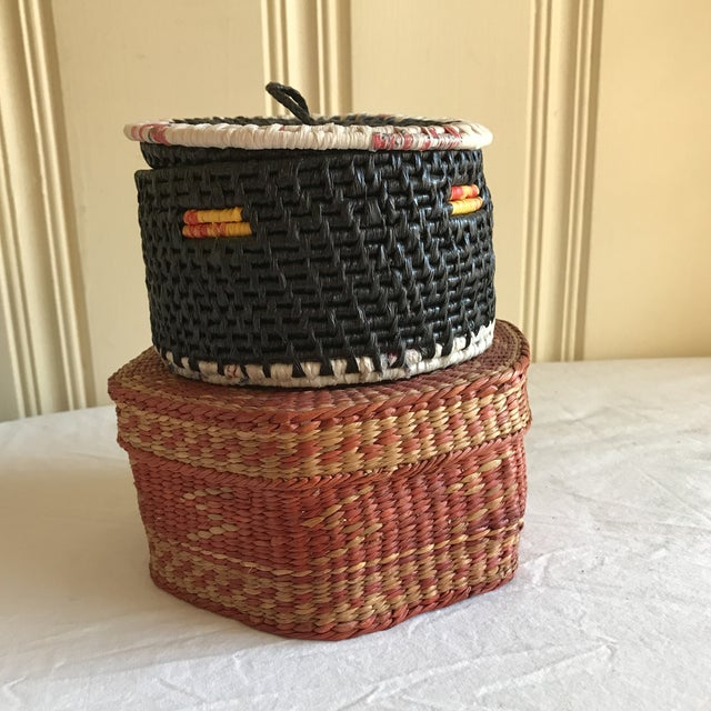 Natural Woven Boho Basket Boxes - A Pair - Image 10 of 10