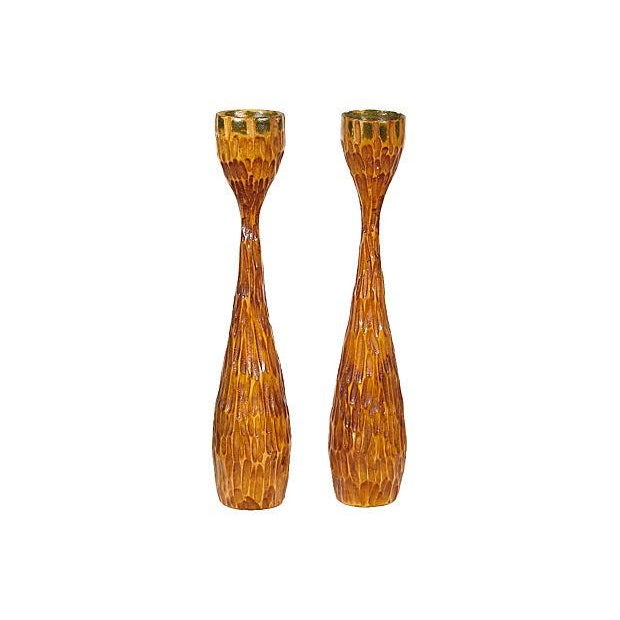 Mid-century Hand-Carved Candlesticks - A Pair - Image 1 of 2