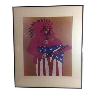 Fritz Scholder Last Indian W/ American Flag Print