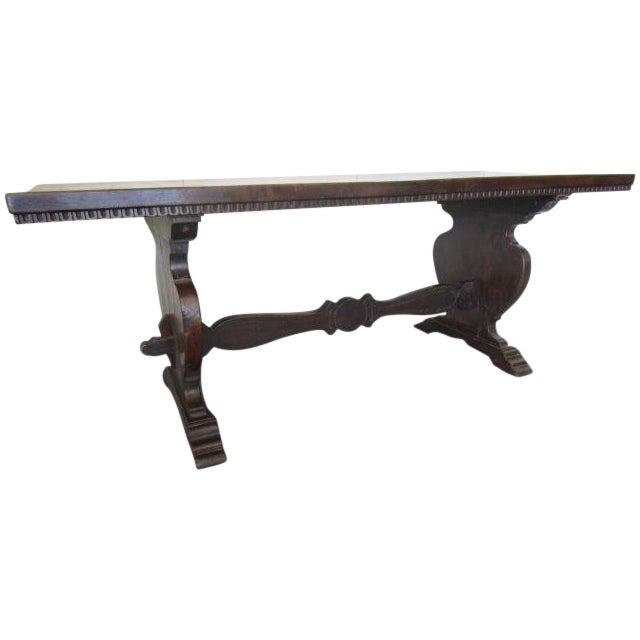 Italian Walnut Refectory Trestle Table - Image 1 of 6