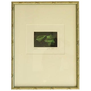 """Etching """"Two Green Leaves"""" by Yu Achee"""