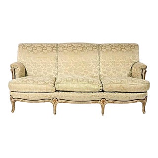 1930 Antique Louis XV Style Painted & Gilt Sofa