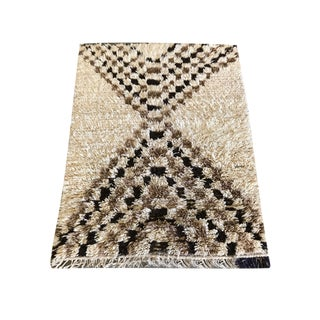 Cream & Brown Moroccan Talsint Rug - 4′2″ × 6′10″