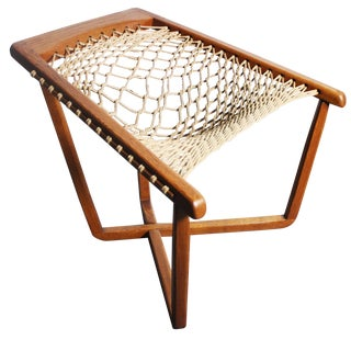 Rare Teak Cross Frame Mid-Century Rope Chair