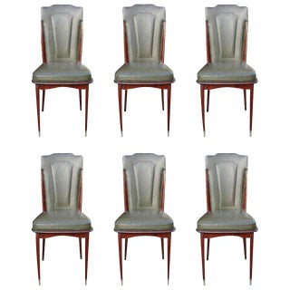 Set Six French Art Deco mahogany Dining Chairs, circa 1940's.