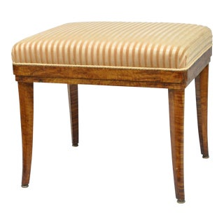 Antique Biedermeier Burlwood Tiger Maple Fruitwood Saber Leg Vanity Bench Stool