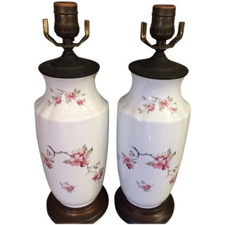 Vintage Cherry Blossom Lamps-Pair