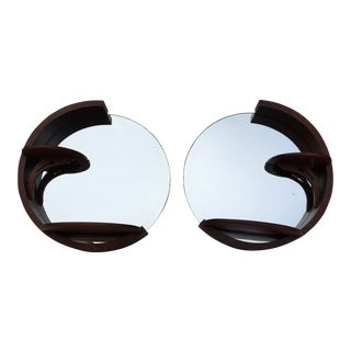 Circular Art Deco Inspired Mirrors - A Pair