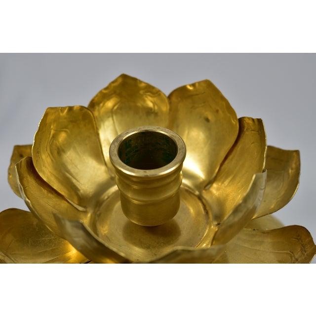 Vintage Feldman Brass Lotus Blossom Candlestick - Image 5 of 11