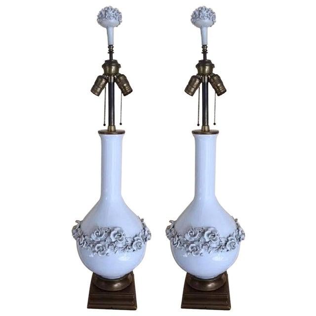Image of Louis XVI Porcelain Blanc de Chine Lamps - A Pair