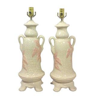 Craquelure Ceramic Chinoiserie Foliate Urn Lamps - A Pair