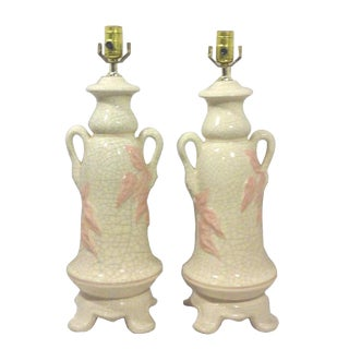 Craquelure Ceramic Chinoiserie Foliate Urn Lamps - A Pair
