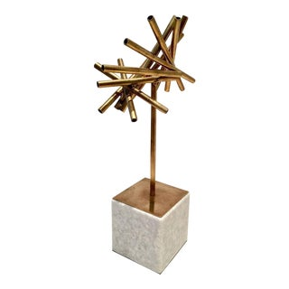 Modern Brass & Marble Abstract Tubular Sticks Sculpture