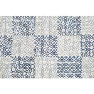 Peter Fasano Sintra Tile Indigo Linen Fabric - 3 Yards