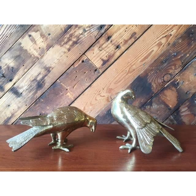 Vintage Heavy Brass Decorative Birds - Pair - Image 2 of 4