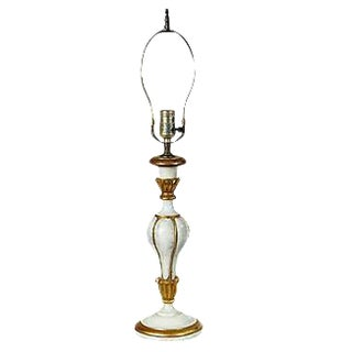Italian White & Gilt Accented Table Lamp