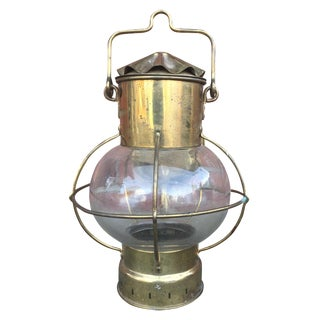 Nautical Brass & Caged Glass Lighting Sconce