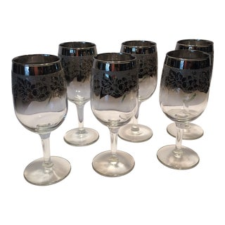 Mid-Century Dorothy Thorpe Crystal Wine Glasses - S/6
