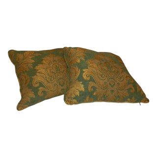 Green & Gold Pillows - A Pair