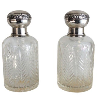 Henri Lapeyre Petite Crystal & Sterling .950 Decanters - a Pair