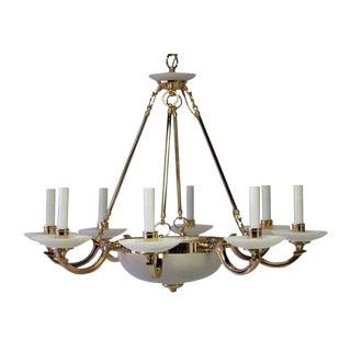 Alabaster & Polished Brass 10-Light Chandelier