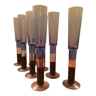 Blue Finland Champagne Flutes - Set of 8