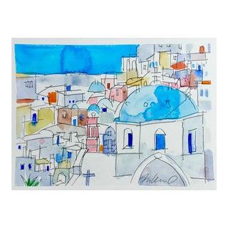 'Mykonos' Cityscape Watercolor Painting