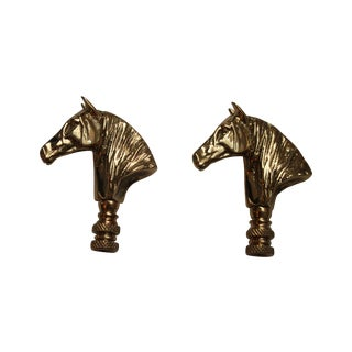 Brass Horse Head Lamp Finials - Pair