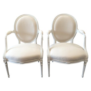 French Louis XVI Painted Fauteuils - A Pair