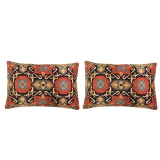 Wool Needlepoint Accent Pillows - A Pair