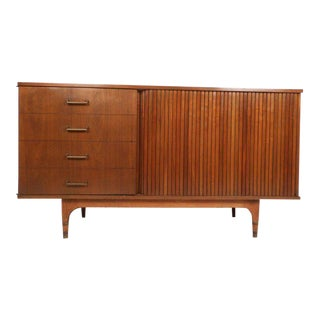 Small Vintage Modern Credenza with a Tambour Door