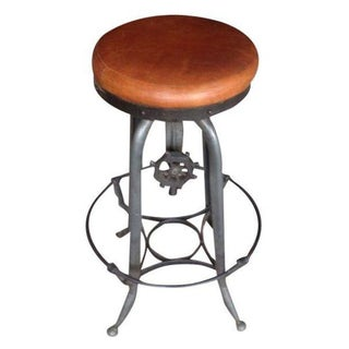 Industrial Bar Stool with Leather Seat