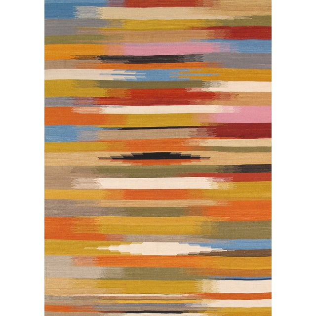 Modern Reversable Yellow Wool Kilim - 5' x 8' - Image 1 of 4