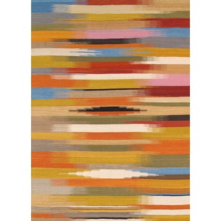 Modern Reversable Yellow Wool Kilim - 5' x 8'
