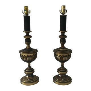 Mid-Century Brass & Black Lamps - A Pair