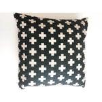 Image of Swiss Cross Black Geometric Pillow