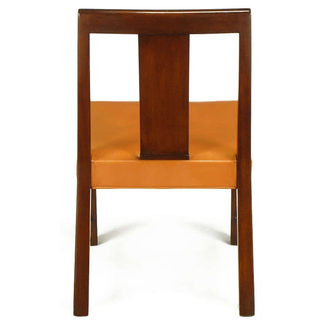 Eight Edward Wormley Mahogany, Leather and Brass Dining Chairs - Image 7 of 9