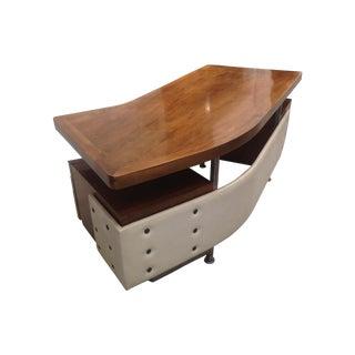 Upholstered Mid-Centrury Modern Wood Desk