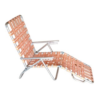 Mid-Century Aluminum Webbed Outdoor Chaise Lounge