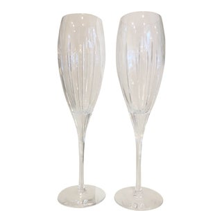 Christofle Crystal Champagne Flutes - A Pair