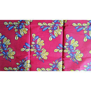 Burgundy and Yellow Floral Stripe African Print Fabric - 6 Yards