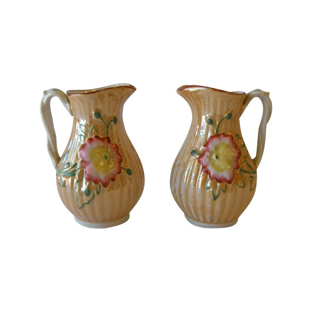 Botanical Lusterware Pitchers - A Pair - Image 1 of 4