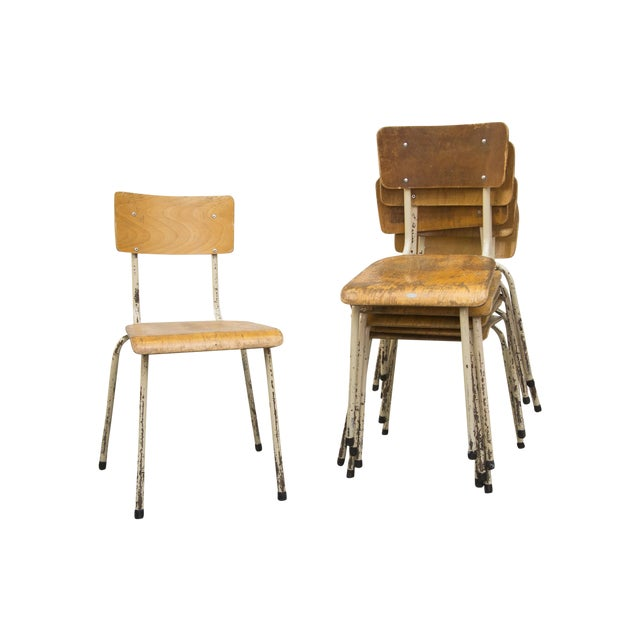 Industrial Plywood Stacking School Chairs - Image 1 of 11