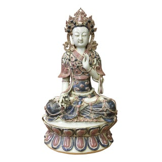 Vintage Chinese Tong Style Porcelain Kwan Yin Tara Bodhisattva Statue